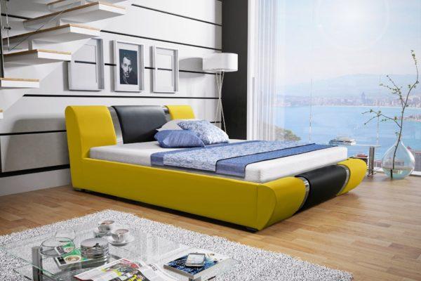 Łóżko tapicerowane sypialniane żółte czarne skóra tkanina drewniane nowość