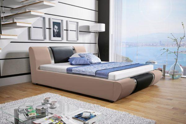 Łóżko tapicerowane sypialniane beżowy czarne skóra tkanina drewniane nowość