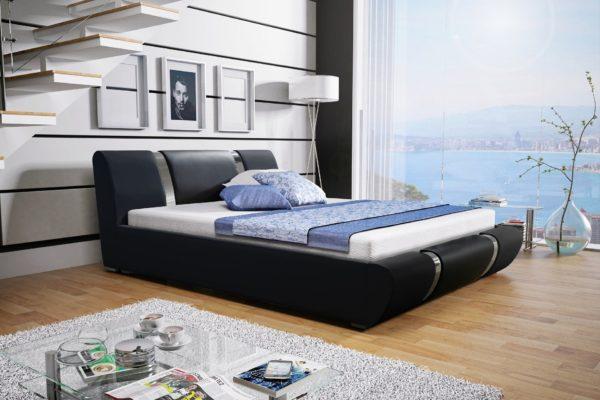 Łóżko tapicerowane sypialniane czarne skóra tkanina drewniane nowość