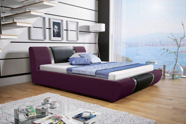 Łóżko tapicerowane sypialniane fiolet czarne skóra tkanina drewniane nowość