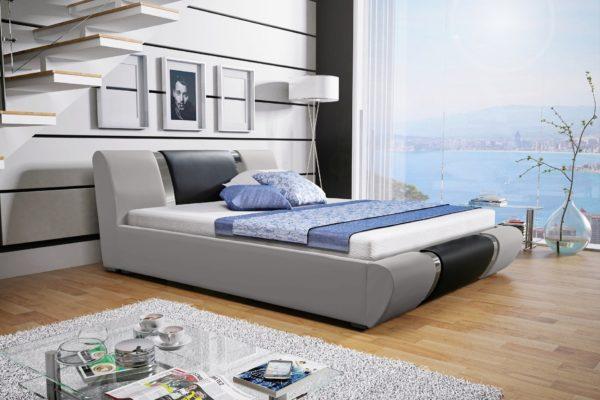Łóżko tapicerowane sypialniane jasny szary czarne skóra tkanina drewniane nowość