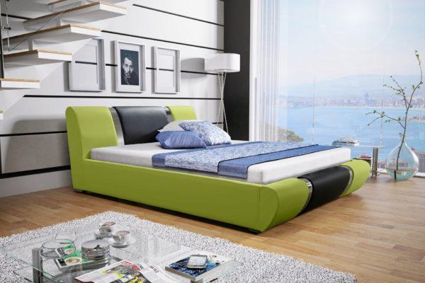 Łóżko tapicerowane sypialniane zielony czarne skóra tkanina drewniane nowość