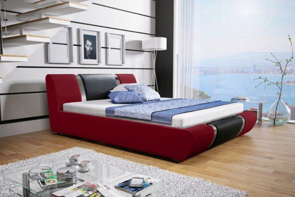 Łóżko tapicerowane sypialniane czerwony czarne skóra tkanina drewniane nowość