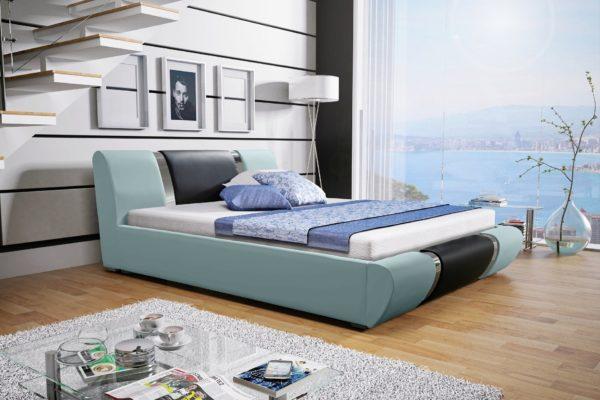Łóżko tapicerowane sypialniane pastelowy błękit czarne skóra tkanina drewniane nowość