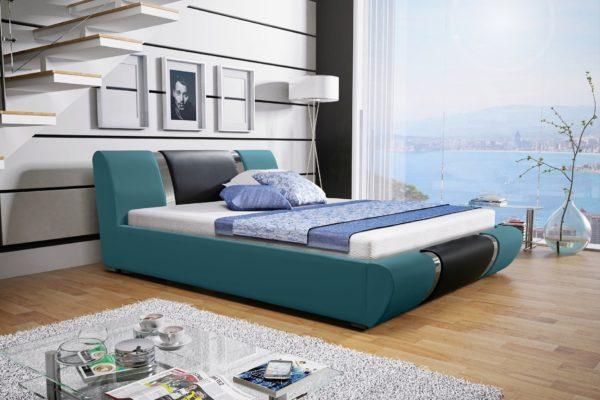Łóżko tapicerowane sypialniane turkusowy czarny czarne skóra tkanina drewniane nowość