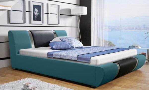 Łóżko tapicerowane sypialniane niebieskie czarne skóra tkanina drewniane nowość