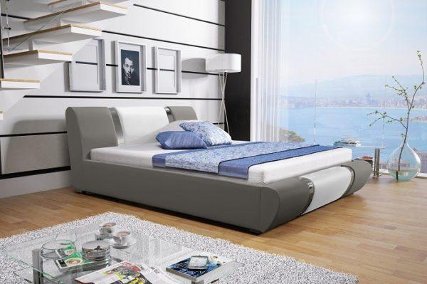 Łóżko tapicerowane sypialniane szare białe czarne skóra tkanina drewniane nowość