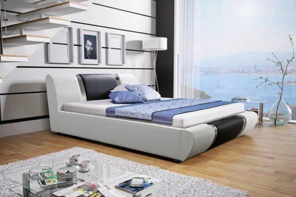 Łóżko tapicerowane sypialniane biały czarne skóra tkanina drewniane nowość