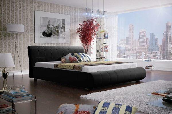 Łóżko łoże meble do sypialni sypialniane czarny czarna tapicerowane Lana