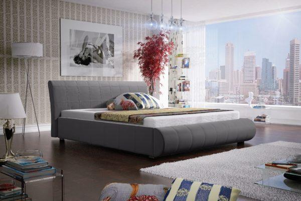 Łóżko łoże meble do sypialni sypialniane szare szary tapicerowane Lana