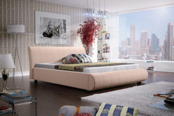 Łóżko łoże meble do sypialni sypialniane beżowy beżowa tapicerowane Lana