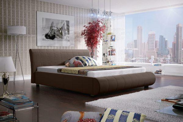 Łóżko łoże meble do sypialni sypialniane brązowe brązowy tapicerowane Lana