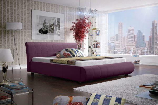 Łóżko łoże meble do sypialni sypialniane fioletowy fioletowa tapicerowane Lana