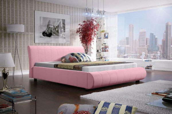 Łóżko łoże meble do sypialni sypialniane różowy różowa tapicerowane Lana