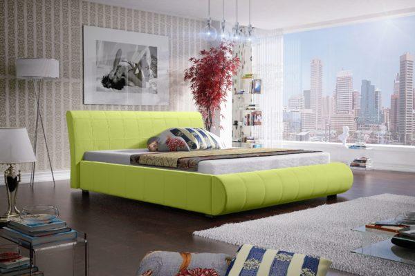 Łóżko łoże meble do sypialni sypialniane zielony zielone tapicerowane Lana