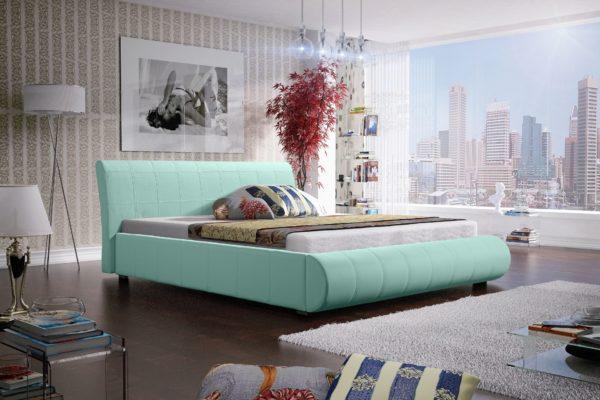Łóżko łoże meble do sypialni sypialniane miętowy pastelowy pastelowe tapicerowane Lana
