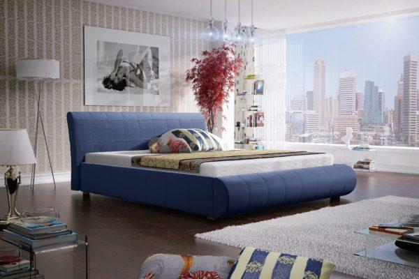 Łóżko łoże meble do sypialni sypialniane niebieskie błękitne błękitna tapicerowane Lana