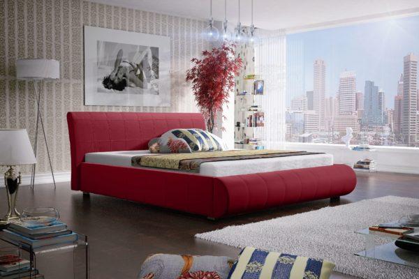 Łóżko łoże meble do sypialni sypialniane czerwony czerwone tapicerowane Lana