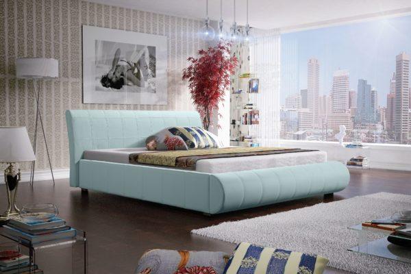 Łóżko łoże meble do sypialni sypialniane pastelowe pastelowy błękit tapicerowane Lana