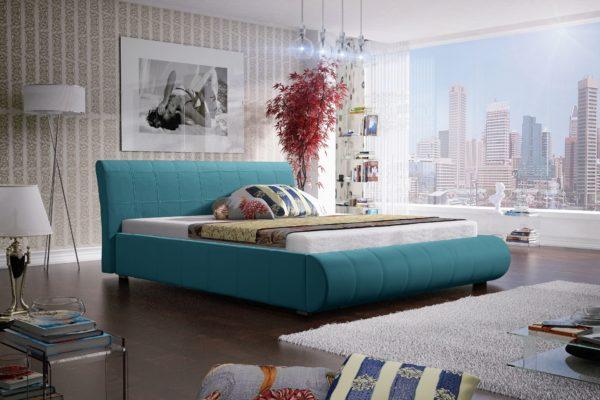 Łóżko łoże meble do sypialni sypialniane turkusowe turkusowy tapicerowane Lana
