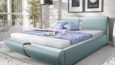 łóżko tapicerowane białe sypialniane drewniane łoże do sypialni podwójne