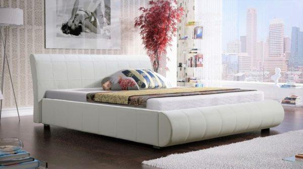 Łóżko łoże meble do sypialni sypialniane żółte żółty tapicerowane Lana