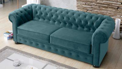 Sofa kanapa chesterfield z funkcją spania rozkładana pikowana styl angielski meble górecki