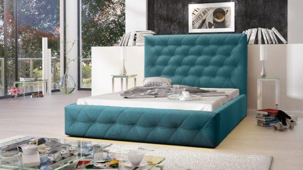 Łóżko łoże podwójne sypialniane tapicerowane Roma turkusowe welwet welur eko skóra