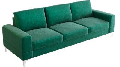 Sofa trzyosobowa rozkładana z funkcją spania meble do salonu sypialni tapicerowana kanapa welwet zieleń butelkowa turkus eko skóra