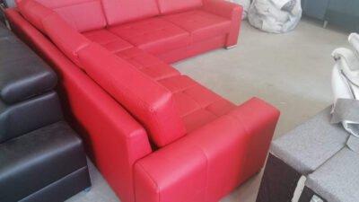 Narożnik Verona ze skóry eko czerwony funkcja spania poduszki oparciowe