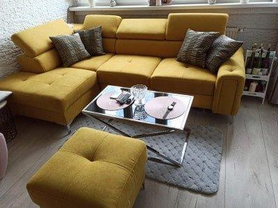 Rogówka kanapa narożna żółta z pufą Orion